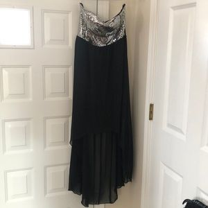 Black High-Low dress with Silver Sequins